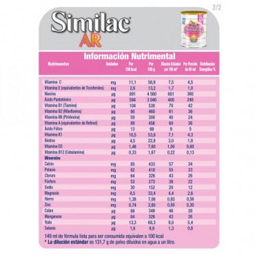 Similac AR - Formula Infantil Espesada Para Bebes con Reflujo Gastroesofagico Fisiologico - 850g