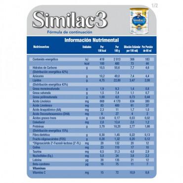 Similac - Etapa 3, Formula Infantil con Hierro para Niños de 1 a 3 Años, Contiene DHA, HMO - 850g
