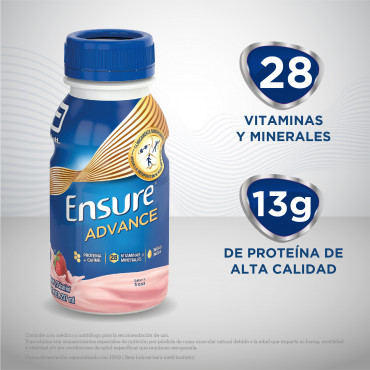 Ensure Advance Alimentacion Especializada Liquida Unica con HMB - Fresa - 237mL - 16 piezas