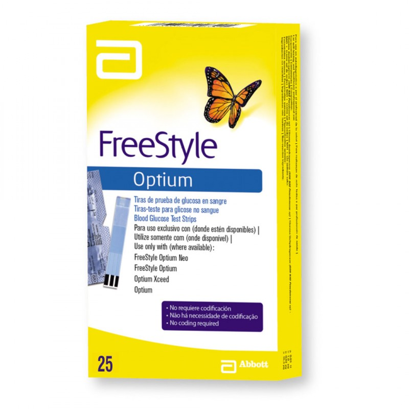 Freestyle Optium Tiras Reactivas Caja Con 25 Tiras
