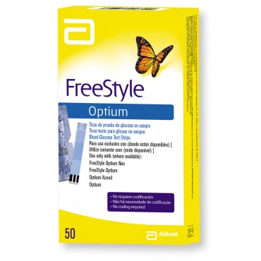 Freestyle Optium Tiras Reactivas Caja Con 50 Tiras
