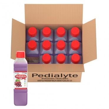 Pedialyte - 60 mEq Solucion Oral para Deshidratacion por Vomito y Diarrea - Uva - 500 mL - 12 piezas
