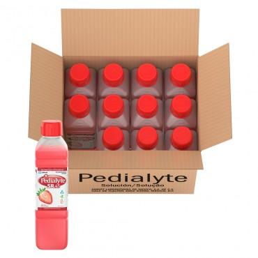 Pedialyte - 45  mEq Solucion Oral para Deshidratacion por Diarrea en Niños - Fresa - 500 mL - 12 piezas